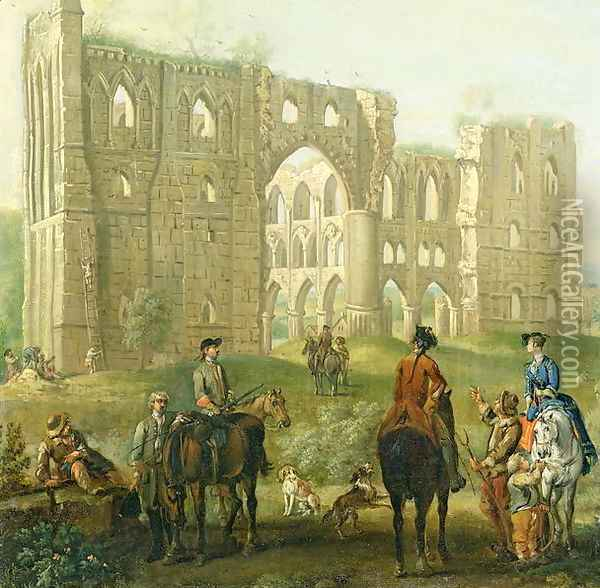 Riders Pausing by the Ruins of Rievaulx Abbey, c.1740-50 Oil Painting - John Wootton