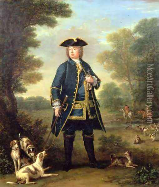 Portrait of Sir Robert Walpole (1676-1745) as Master of the Kings Staghounds in Windsor Forest Oil Painting - John Wootton
