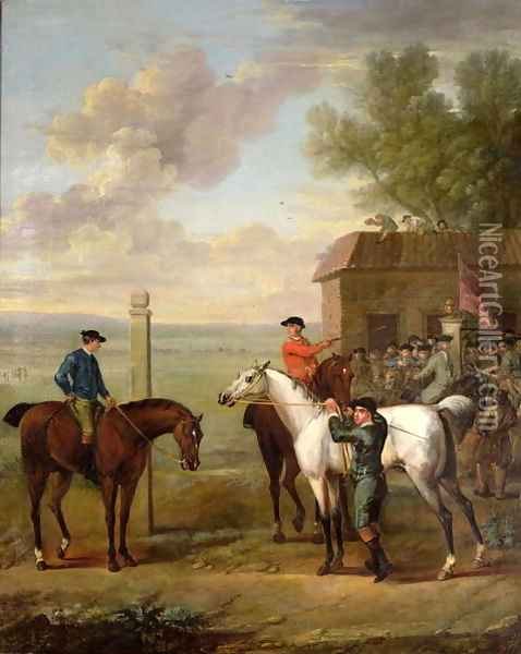 Racehorses with jockeys up by the rubbing down house on Newmarket Heath Oil Painting - John Wootton