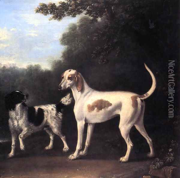 Two of the Duchess of Marlborough's Dogs Oil Painting - John Wootton