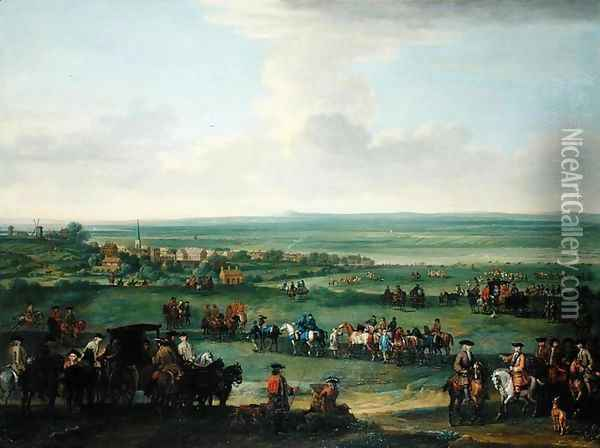 George I (1660-1727) at Newmarket, 4th-5th October 1717, c.1717 Oil Painting - John Wootton
