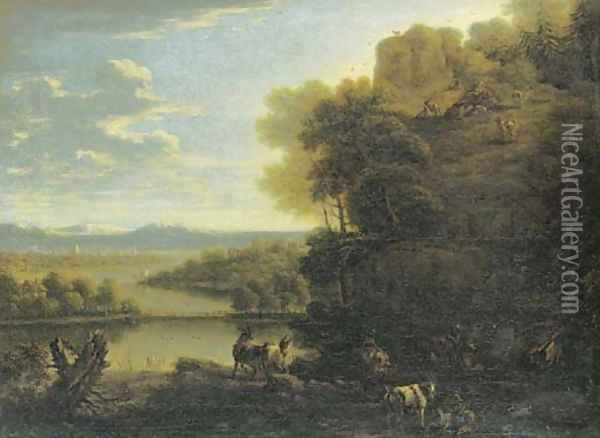 A goatherd and goats on a rocky wooded outcrop before an extensive river landscape Oil Painting - John Wootton