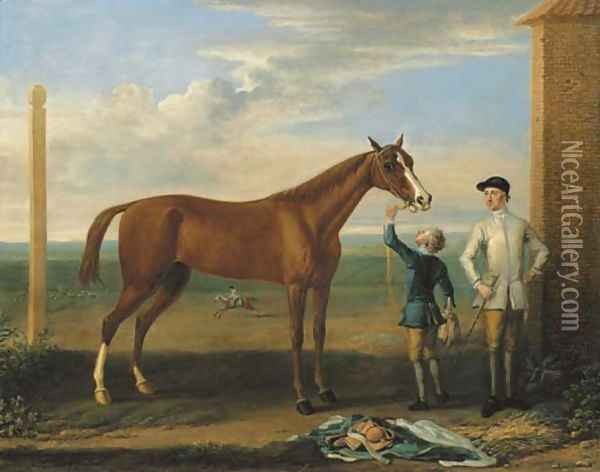 Bald Charlotte, also known as Lady Legs, a chestnut mare, held by a groom, with a jockey, at Newmarket Oil Painting - John Wootton
