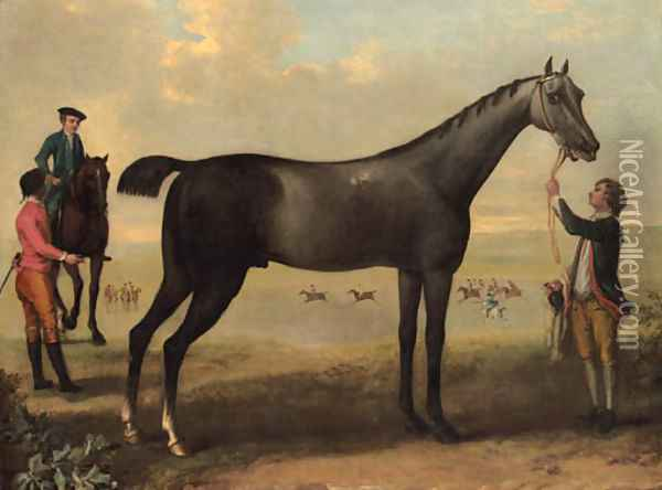 Childers, a dark bay racehorse held by a groom, with a horse and rider and jockey beside him, in an extensive landscape. Oil Painting - John Wootton