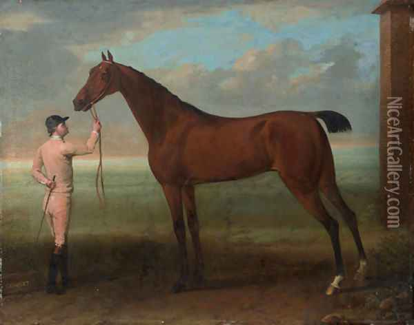 Coquette, a Bay Mare, held by a Groom, beside the King's Stables at Newmarket, near the Finish of the Beacon Course Oil Painting - John Wootton