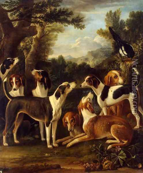 Hounds and a Magpie Oil Painting - John Wootton