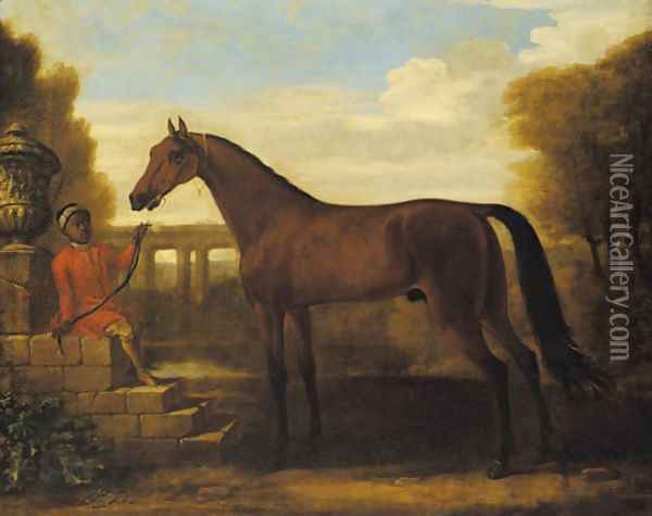 A dark bay Arab stallion, held by a groom seated on stone steps by a classical urn, a viaduct in the landscape beyond Oil Painting - John Wootton