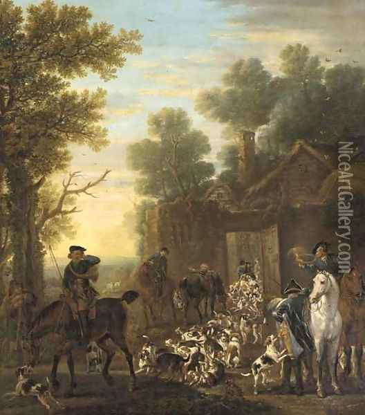 A hunting scene showing the release of the hounds, in a wooded landscape Oil Painting - John Wootton