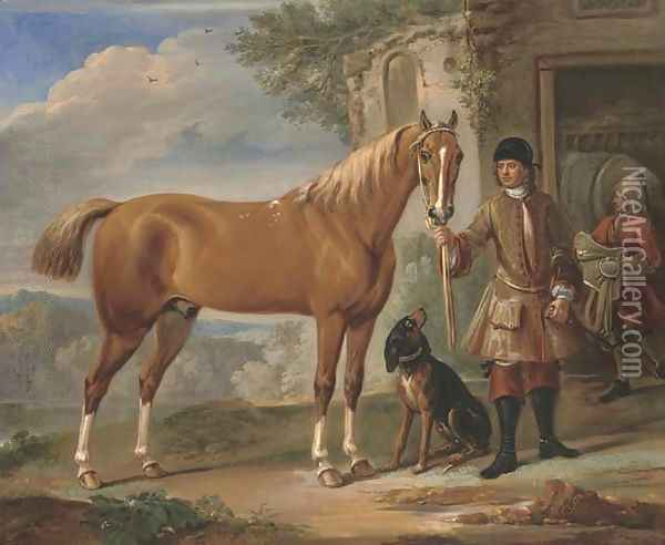 John Shafto of Bavington Hall, and Whitworth Hall, Northumberland, holding a hunter, in a landscape with a groom and stable beyond Oil Painting - John Wootton