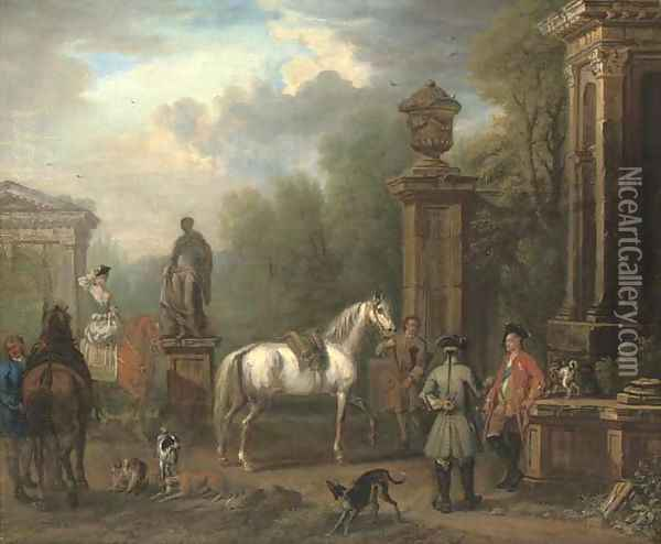Portrait of Charles Spencer, 3rd Duke of Marlborough (1706-1758), and Elizabeth, Duchess of Marlborough, with a hunting party Oil Painting - John Wootton