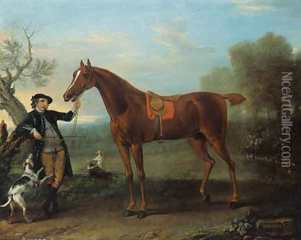 Squirrel, a thoroughbred chestnut Hunter held by a Groom, in an extensive wooded landscape Oil Painting - John Wootton