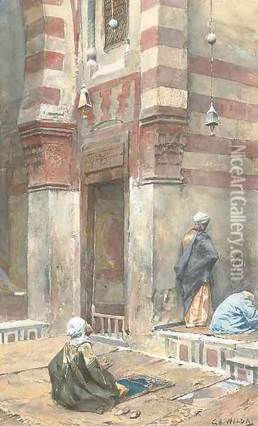 Prayers at the mosque Oil Painting - Charles Wilda