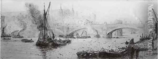 Barges on the Thames before Southwark Bridge Oil Painting - William Lionel Wyllie