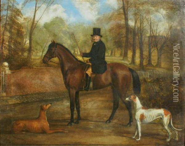 Portrait Of A Gentleman Saddled  On Bay Hunter With Greyhounds Alongside In A Country Setting Oil Painting - John Snr Ferneley