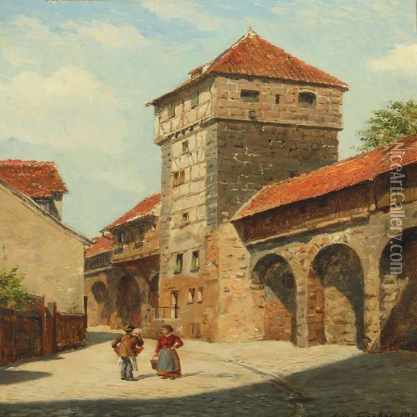Cityscape From Nurnberg With Couple By Town Wall Oil Painting - August Fischer