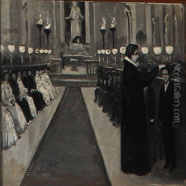 Confirmation In The Church Of Our Lady, Copenhagen Oil Painting - Paul-Gustave Fischer