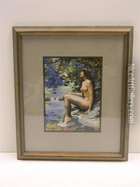 Nude Woman At The Edge Of Stream Oil Painting - Ben Foster