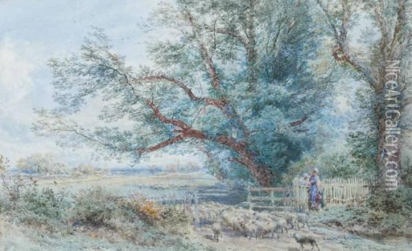 Watching The Flock Pass By Oil Painting - Myles Birket Foster