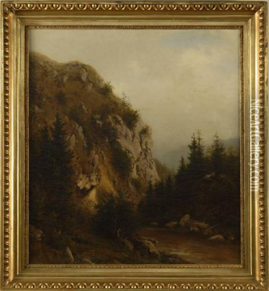 Mountain Cliff With River Oil Painting - Heinrich Ludwig Frische