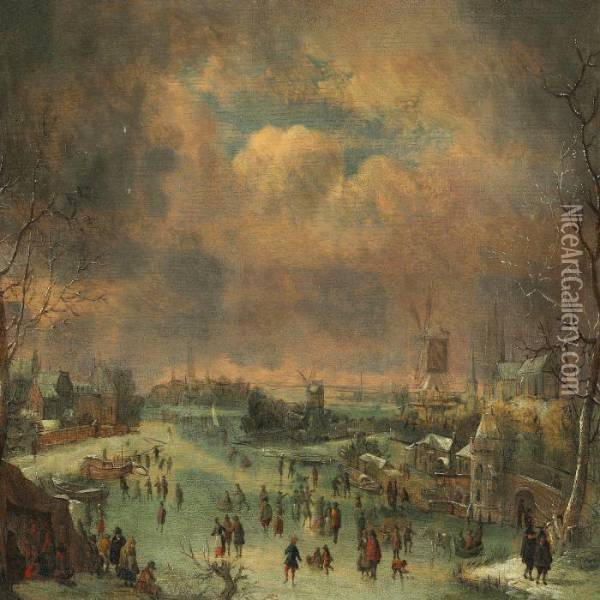 Winter Day With Skaters On A Lake In A Dutch Town Oil Painting - Jan Griffier I