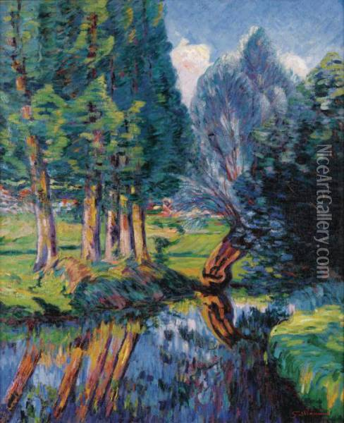 Paysage A Breuillet Oil Painting - Armand Guillaumin
