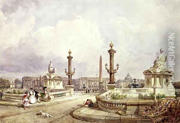 The Place de la Concorde, c.1837 Oil Painting - William Wyld