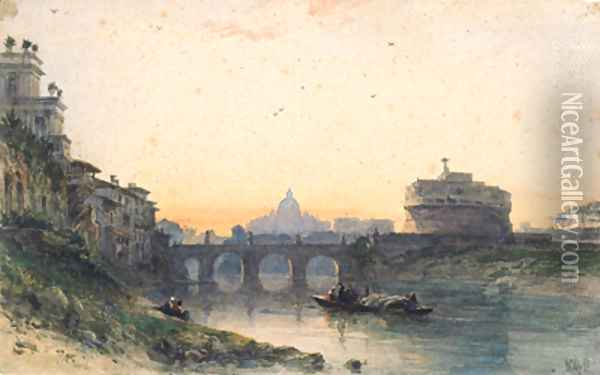 View across the Tiber to St. Peter's and Castel Sant 'Angelo, Rome Oil Painting - William Wyld