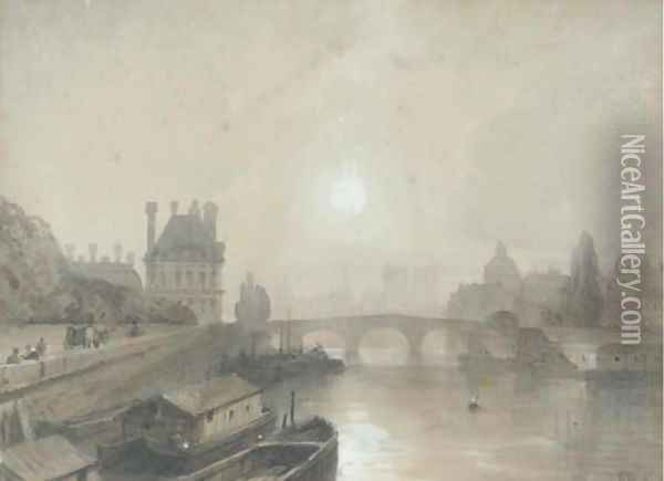 Views of Paris from the Seine Oil Painting - William Wyld