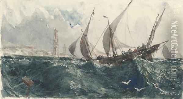 Xebecs in the Mediterranean before a lighthouse Oil Painting - William Wyld