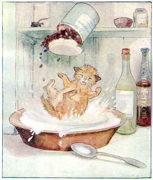Wee Kitty fell into the cream..., illustration from Cuddly Kitty and Busy Bunny, by Clara G. Dennis, published by Thomas Nelson and Sons, Ltd., 1926 Oil Painting - Alan Wright