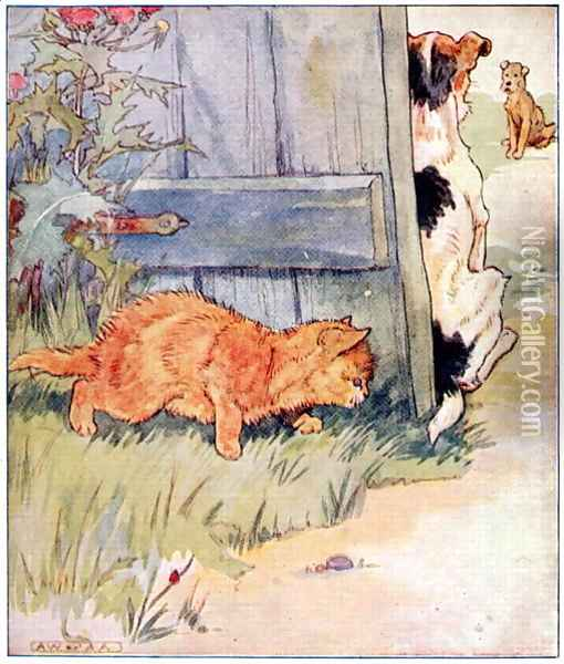 Sly Kitty thinks, A Joke Ill Play..., illustration from 'Cuddly Kitty and Busy Bunny', by Clara G. Dennis, published by Thomas Nelson and Sons, Ltd., 1926 Oil Painting - Alan Wright