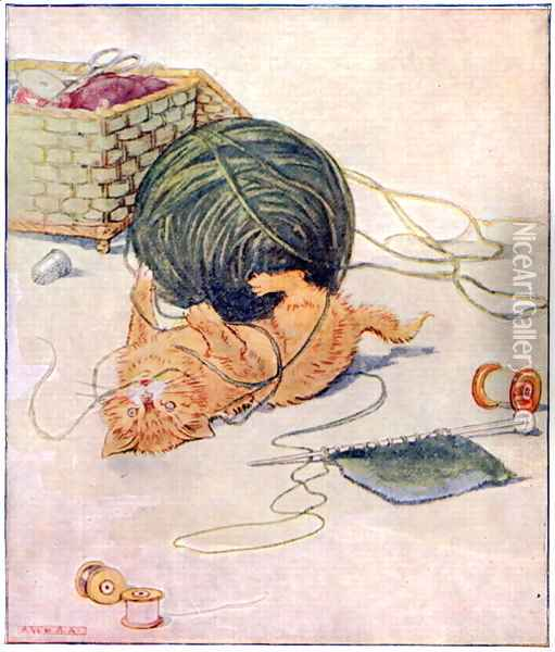 Wee Kitty thinks, I love to play..., illustration from Cuddly Kitty and Busy Bunny, by Clara G. Dennis, published by Thomas Nelson and Sons, Ltd., 1926 Oil Painting - Alan Wright