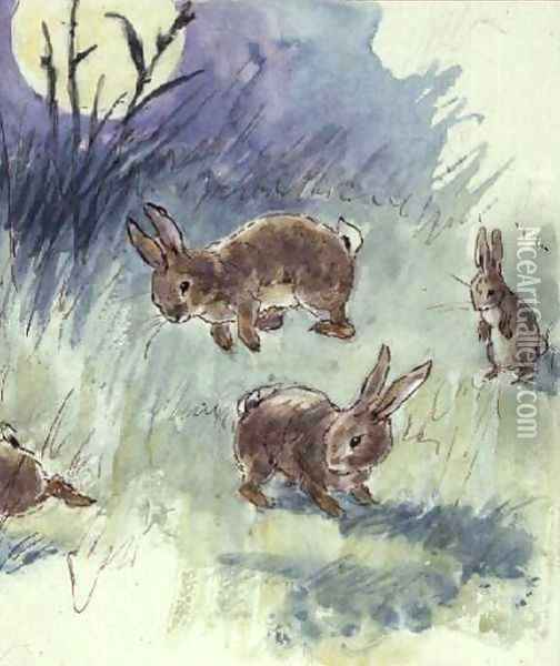 Illustration from the Busy Bunny Book Oil Painting - Alan Wright