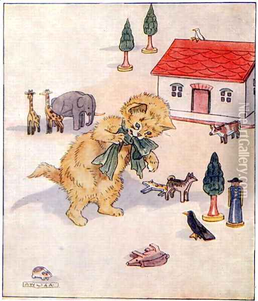 Glad Christmas Day is very near..., illustration from 'Cuddly Kitty and Busy Bunny', by Clara G. Dennis, published by Thomas Nelson and Sons, Ltd., 1926 Oil Painting - Alan Wright