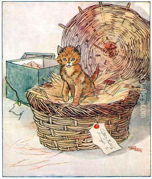 To Polly, sweetest girl in the world..., illustration from 'Cuddly Kitty and Busy Bunny', by Clara G. Dennis, published by Thomas Nelson and Sons, Ltd., 1926 Oil Painting - Alan Wright