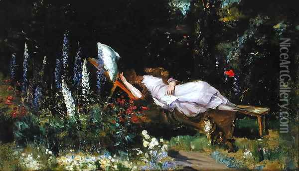 An Afternoon Nap Oil Painting - Harry Mitten Wilson
