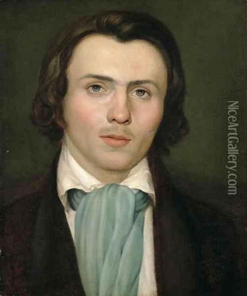 Portrait of a young man Oil Painting - Friedrich Wasmann