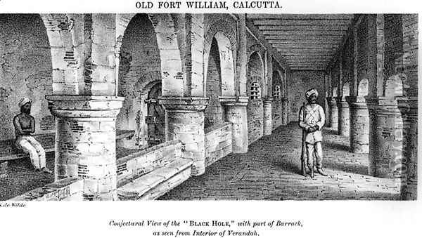 Old Fort William, Calcutta, with a Conjectural View of the 'Black Hole', with Part of the Barrack, as seen from the Interior of the Verandah Oil Painting - Samuel de Wilde