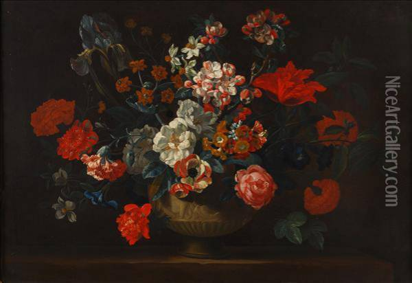 Still Life With A Vase Of Flowers On A Ledge Oil Painting - Pieter Hardime