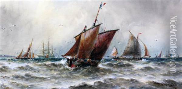 Fishing Boats And Other Shipping At Sea Oil Painting - Thomas Bush Hardy