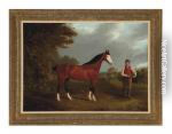 The Racehorse Whiteface With Groom J. Gilham Oil Painting - John Frederick Herring Snr