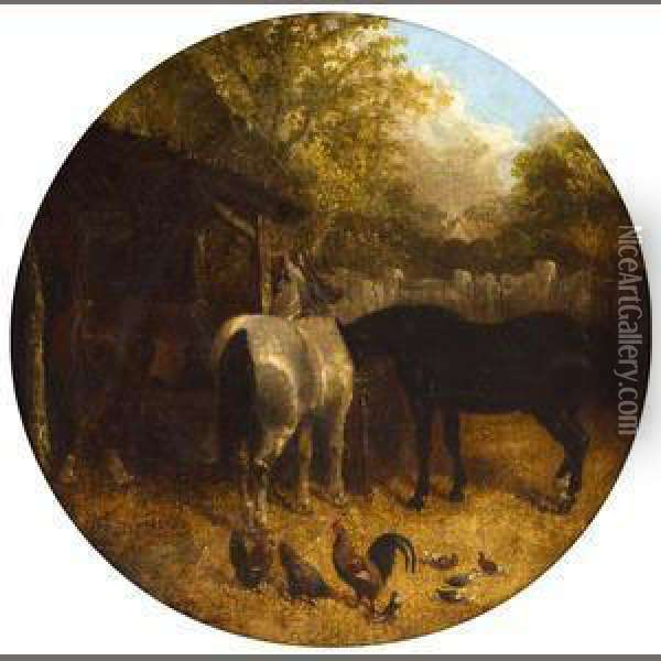 Horses And Ducks, Horses And Chickens: Two Oil Painting - John Frederick Herring Snr