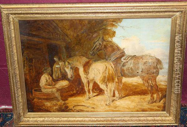Rural Workers With Horses Outside A Cottage Oil Painting - John Frederick Herring Snr