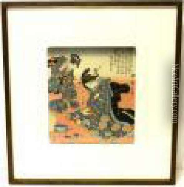 Two Young Women; Oil Painting - Utagawa or Ando Hiroshige