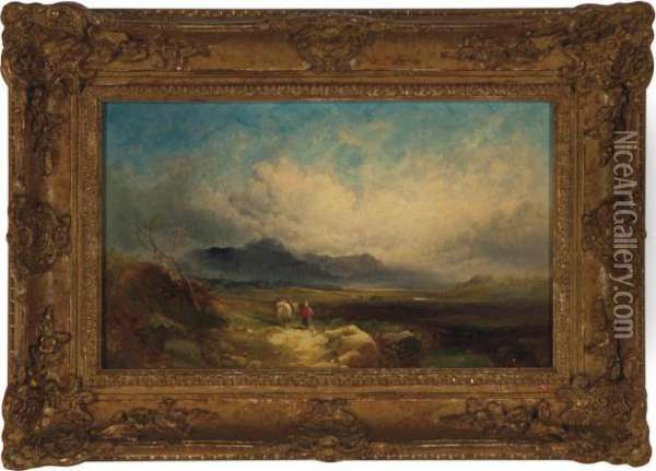 Travellers In The Highlands Oil Painting - Joseph Horlor