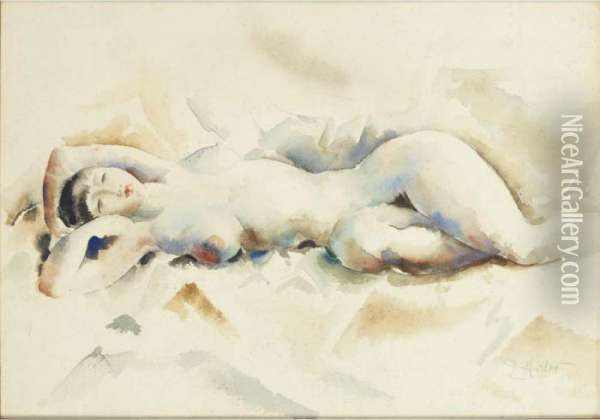 Nude Reclining Oil Painting - Earl Horter