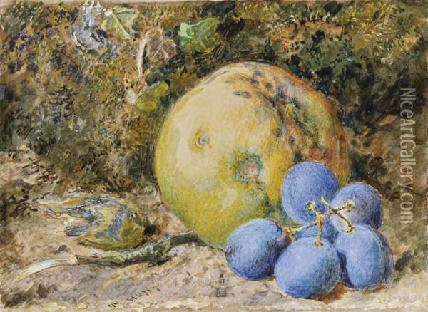 An Apple, Grapes And A Hazelnut On A Mossy Bank Oil Painting - William Henry Hunt