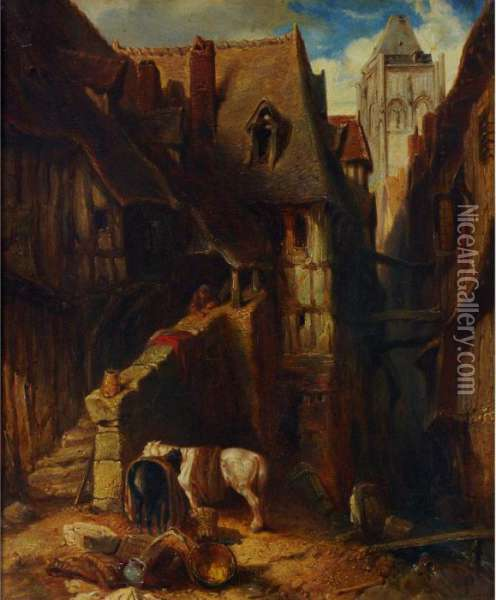 Town Scene With Rustic Watching Over His Horses Oil Painting - Eugene Isabey