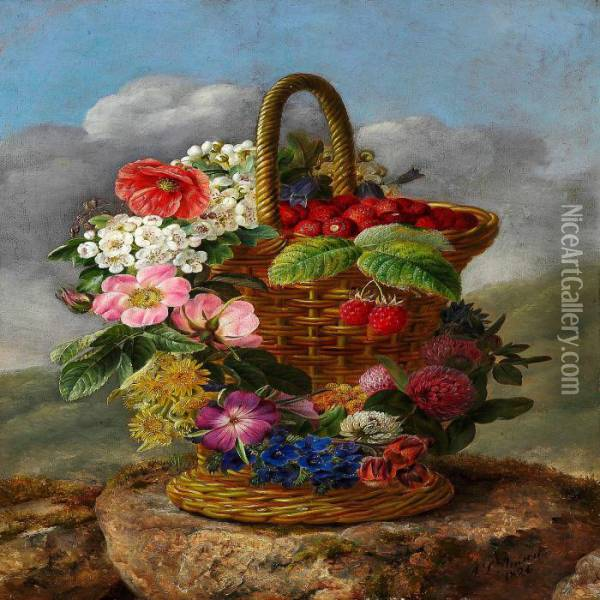 Strawberries In A Tall Basket Decorated With A Colourful Wreath Oil Painting - Johan Laurentz Jensen
