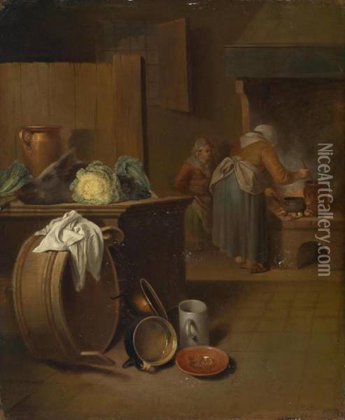 Two Rustic Interiors With Women Doing Kitchen Work Oil Painting - Justus Juncker